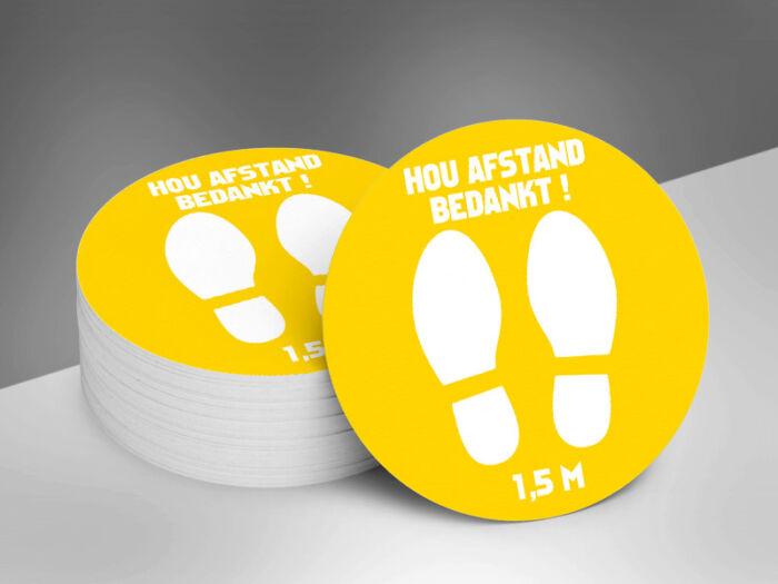 Vloerstickers rond voeten _ geel