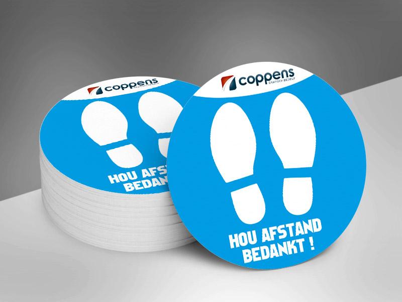 Vloerstickers rond voeten logo _ blauw