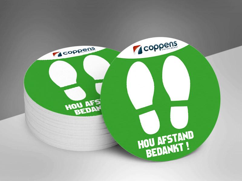 Vloerstickers rond voeten logo _ groen