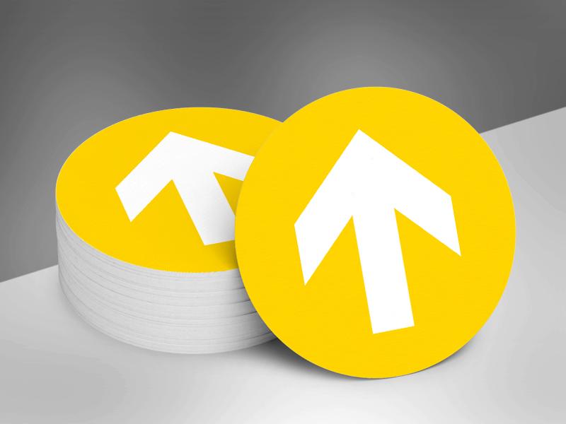Vloerstickers rond pijlen _ geel