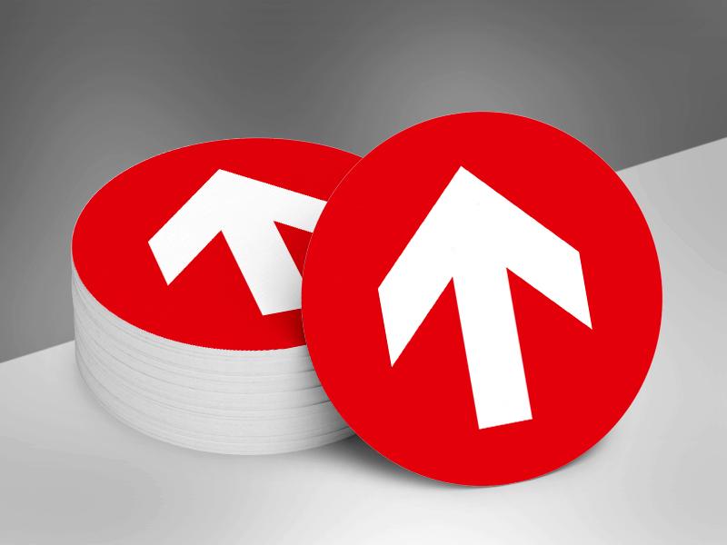 Vloerstickers rond pijlen _ rood