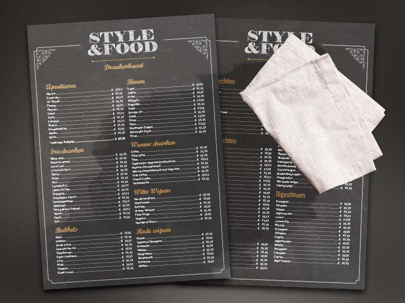 Afwasbare menukaarten