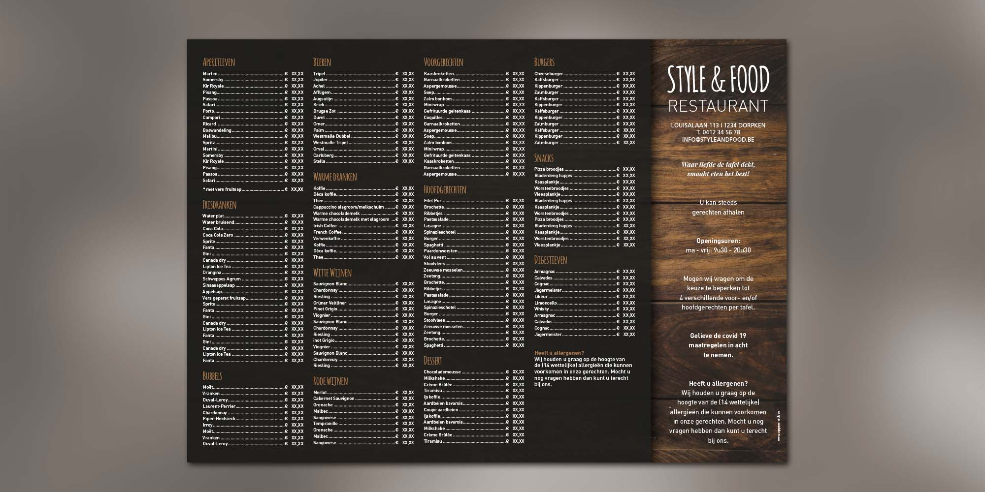 Placemats - Dark wood menu