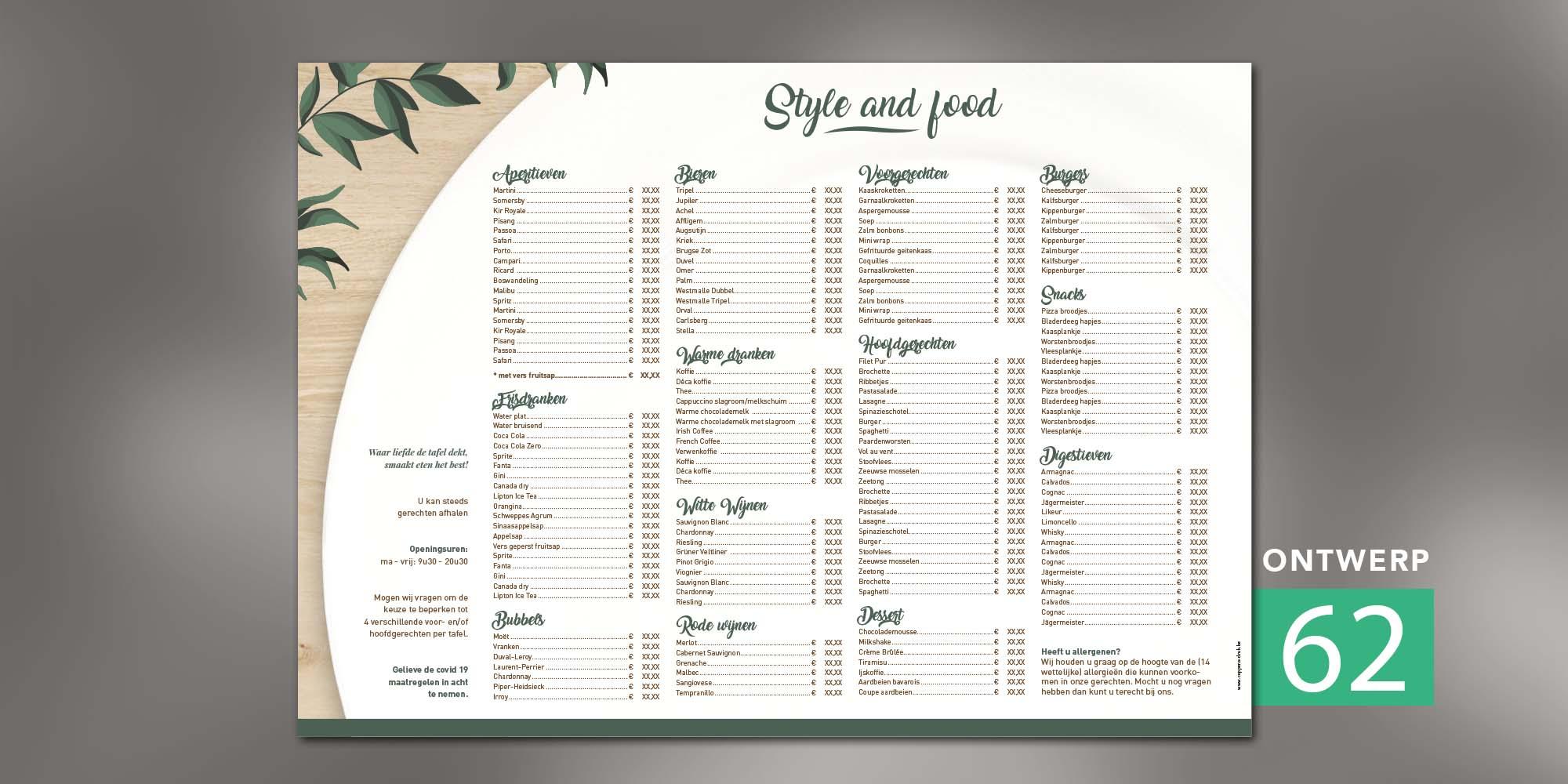 Placemats - Fresh plate menu